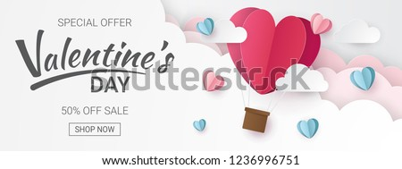 Valentines day sale background with Heart Balloons and clouds. Paper cut style. Can be used for Wallpaper, flyers, invitation, posters, brochure, banners. Vector illustration. #1236996751