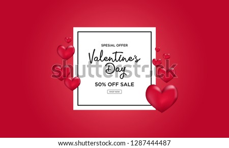 Valentines day sale background with Heart . illustration.Wallpaper.flyers, invitation, posters, brochure, banners for advertising. - Vector #1287444487