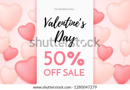 Valentines day sale background with Heart Shaped Balloons and golden confetti. Discount offer. Vector illustration for flyers, posters or greeting cards.