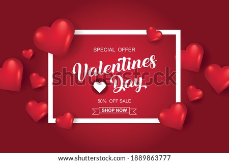 Valentines day sale background with heart. Vector illustration. Wallpaper, flyers, invitation, posters, brochure, banners