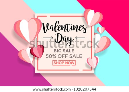 Valentines day sale background With Paper cut Love. Wallpaper, flyers, invitation, posters, brochure, voucher, banners. #1020207544