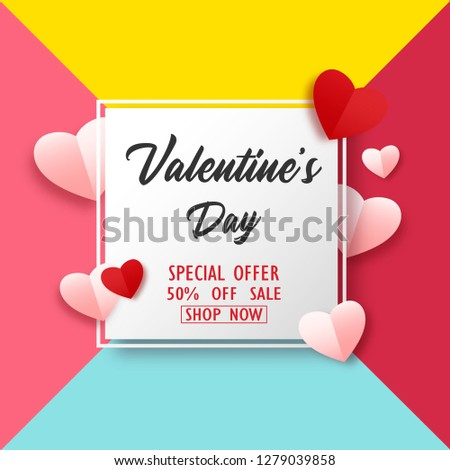 Valentines Day sale background with paper hearts #1279039858