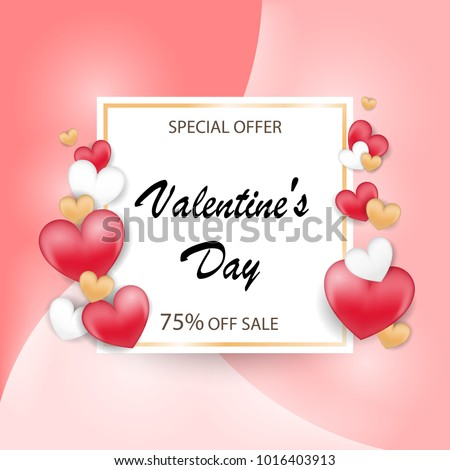 Valentines day sale background with Red White Gold Heart. Vector Wallpaper. flyers, invitation, posters, illustration. Brochure, banners. #1016403913