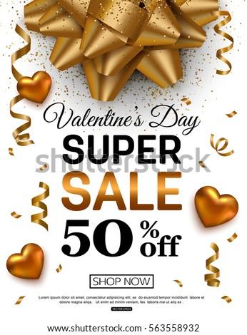 Valentines Day sale banner for online shopping. Vector illustration.