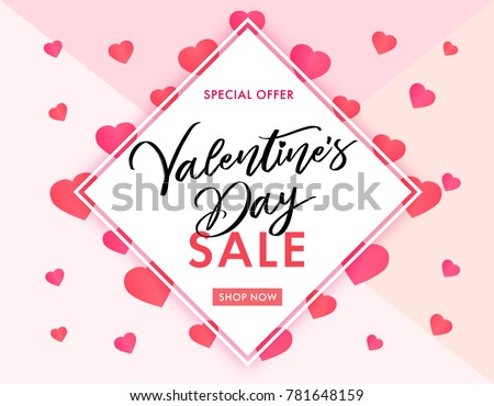 Valentines Day sale banner pink hearts. Valentines Day sale banner template with typography text special offer valentine`s day and pink hearts on background. Vector illustration #781648159