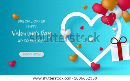 Valentines Day Sale discount banner. Discount Sale Vector. Special offer poster with heart balloons, price tag, festive background. Love, flyer, banner, shopping coupon, voucher. Vector illustration