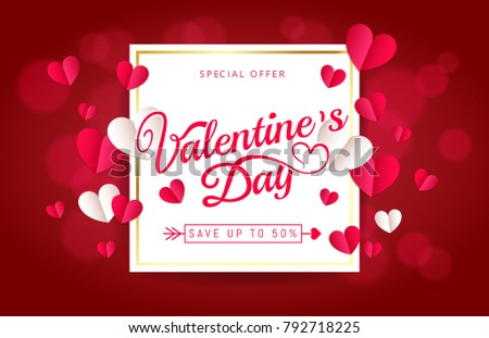 Valentines Day sale greeting card banner  Beautiful invitation with pink heart frame on blue background and lettering. Wallpaper, flyers, invitation, posters, brochure, banners. Vector illustration