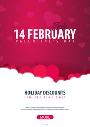 Valentines day sale poster and background. Wallpaper, flyers, invitation, posters, brochure, voucher banners Vector illustration
