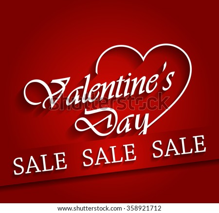 Schön Valentines Day Sale Poster With Ribbon. Vector Illustration.