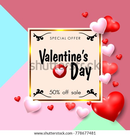 Valentines Day Sale Promotion Banner in Vintage Style. Vector Illustration #778677481