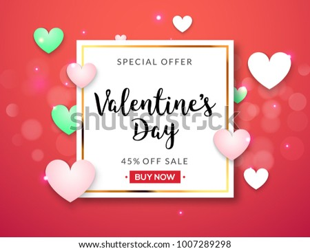 Valentines day sale vector banner background with hearts. Valentine discount holiday poster template for promo sale. #1007289298