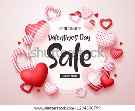 Valentines day sale vector banner. Sale discount promotion text in white frame with red valentines hearts elements in white background. Vector illustration. #1294500799