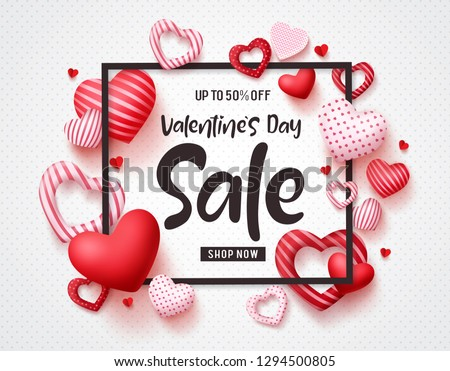 Valentines day sale vector banner template with sale promotion text, hearts elements and a frame in white pattern background. Vector illustration. #1294500805
