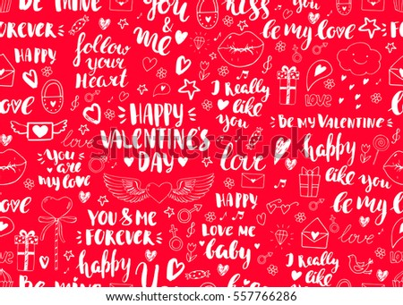 Valentines Day Seamless Doodles Pattern Vector Elements Lips Cupcake Heart With Wings