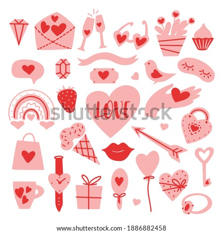 valentines day set with cute