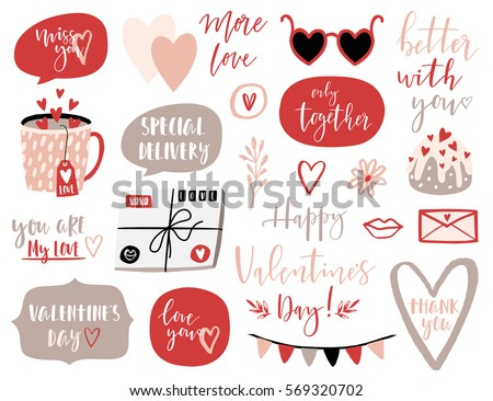 valentines day set with love