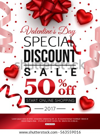 Valentines Day special discount for online shopping. Vector illustration. #563559016