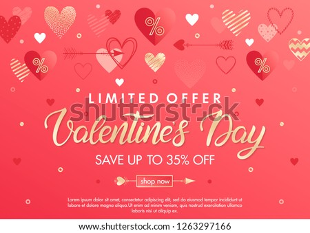 Valentines Day special offer banner with different hearts and gold foil elements.Sale flyer template perfect for prints, flyers, banners, promotions, special offers and more. Vector Valentines promo. #1263297166