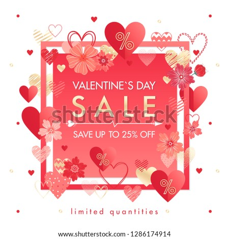 Valentines Day special offer banner with different hearts and golden foil elements.Sale flyer template perfect for prints, flyers, banners, promotions, special offers and more.Vector Valentines promo. #1286174914