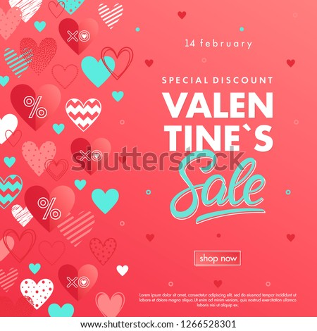 Valentines Day special offer banner with different hearts.Sale flyers templates perfect for prints, flyers, banners, promotions, special offers and more. Vector Valentines Day promotions. #1266528301