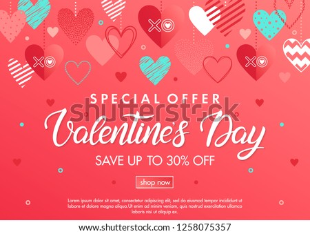 Valentines Day special offer banner with different hearts.Sale template perfect for prints, flyers,banners, promotion,special offer and more. Vector Valentines Day promotion.