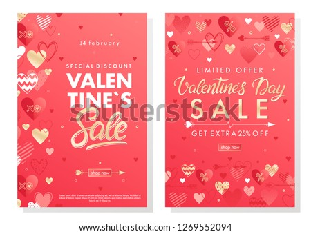 Valentines Day special offer banners with different hearts and golden foil elements.Saletemplates perfect for prints, flyers, banners, promotions, special offers and more. Vector Valentines promos. #1269552094