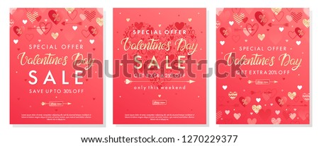 Valentines Day special offer banners with different hearts and golden foil elements.Saletemplates perfect for prints, flyers, banners, promotions, special offers and more. Vector Valentines promos. #1270229377