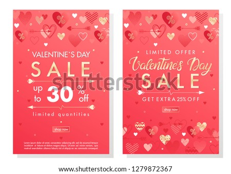 Valentines Day special offer banners with different hearts and golden foil elements.Saletemplates perfect for prints, flyers, banners, promotions, special offers and more.Vector Valentines promos. #1279872367