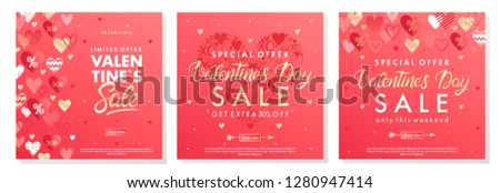 Valentines Day special offer banners with different hearts and golden foil elements.Saletemplates perfect for prints, flyers, banners, promotions, special offers and more.Vector Valentines promos. #1280947414