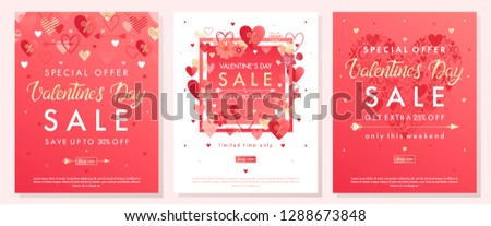 Valentines Day special offer banners with different hearts and golden foil elements.Saletemplates perfect for prints, flyers, banners, promotions, special offers and more.Vector Valentines promos. #1288673848