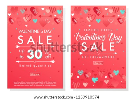 Valentines Day special offer banners with different hearts.Sale flyers templates perfect for prints, flyers, banners, promotions, special offers and more. Vector Valentines Day promotions. #1259910574