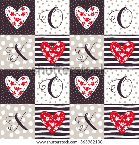 valentines day square patchwork