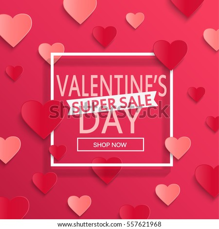 Valentines day super sale background, poster template. Pink abstract background with hearts ornaments. February 14.Vector illustration.