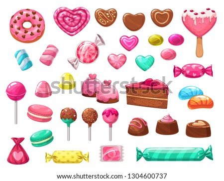Valentines Day sweets vector icons of romantic love holiday gifts. Chocolate cake, heart shaped candies, lollipops and jellies, marshmallow, cupcakes and macarons, donuts, ice cream and caramel
