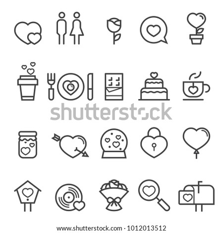 Valentines Day Thin Line Icons 2018