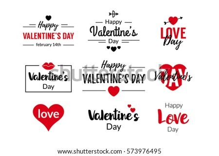 Valentines Day Typographic Text Design for logo, greeting cards decoration, posters, invitations. With heart symbols and frames #573976495