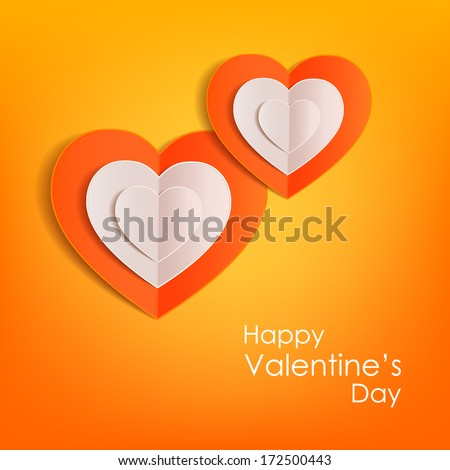 Valentines day typographical background with paper hearts This vector illustration can be used as greeting card or wedding invitation for your design