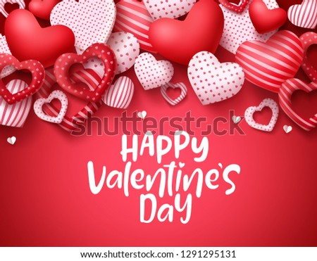 Valentines day vector background. Happy valentines day greeting text with hearts elements in red background. Vector illustration.  #1291295131