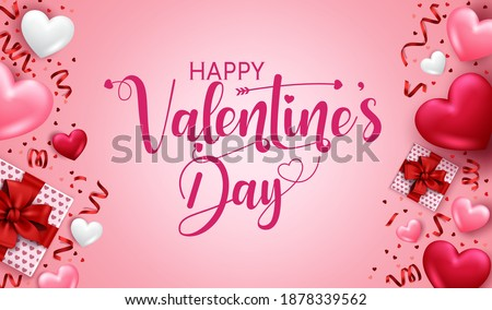 Valentines day vector banner template. Happy valentine's day in empty space for messages with valentine's decoration element for greeting card design. Vector illustration