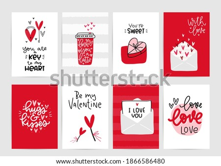 Valentines day vector card set with hearts and love romantic messages in red, grey and white colours. Photo stock ©