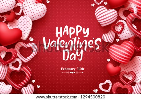 Valentines day vector greeting card. Happy valentines day text with hearts elements in red pattern background. Vector illustration.