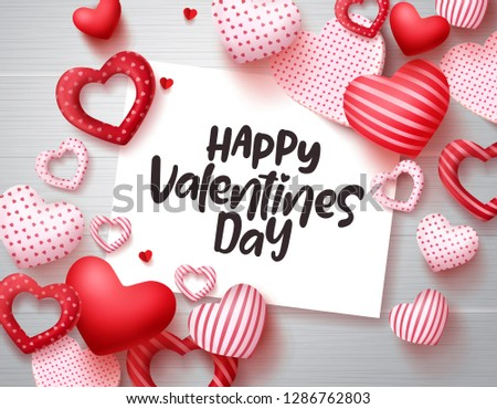 Valentines day vector greeting template. Happy valentines day text in white paper with red hearts in wood texture background. Vector illustration.  #1286762803