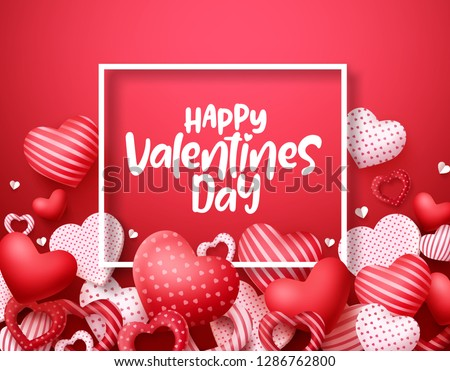 Valentines day vector hearts background. Happy valentines day greeting text in a frame with hearts shape elements and decorations in red background. Vector illustration.  #1286762800