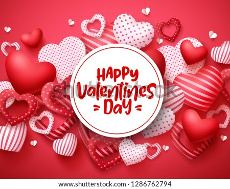 Valentines day vector hearts background template. Happy valentines day greeting text in white space with hearts shape elements and decorations in red background. Vector illustration.  #1286762794