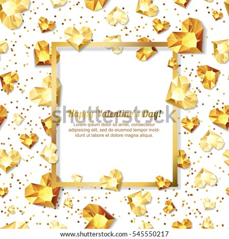 Valentines day vector illustration. 3d gold heart diamonds, gems, jewels. with square frame with place for text. Design for greeting card, banner, poster, flyer, party invitation, jewelry gift shop.