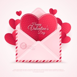 Valentines Envelope with Paper Hearts. Vector Illustration. Realistic Mail or Letter for Mother's and Women's Day Greetings