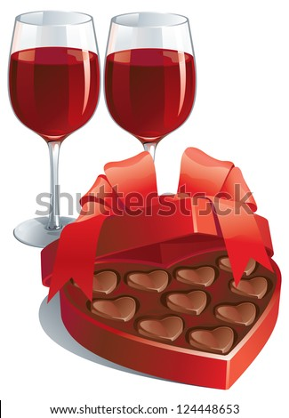 Valentines gift. Vector of two wineglasses with Red wine  and heart shaped box of chocolates candy isolated on white background