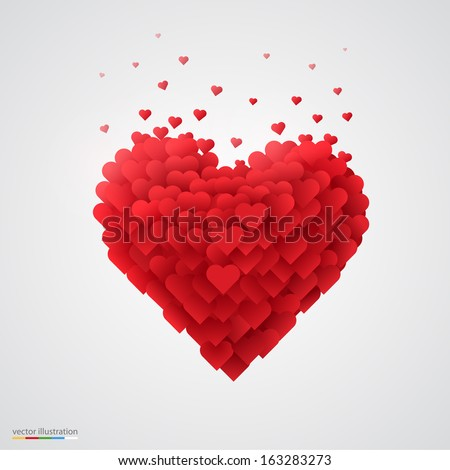 Valentines heart. Decorative heart background with lot of valentines hearts.  Vector illustration.