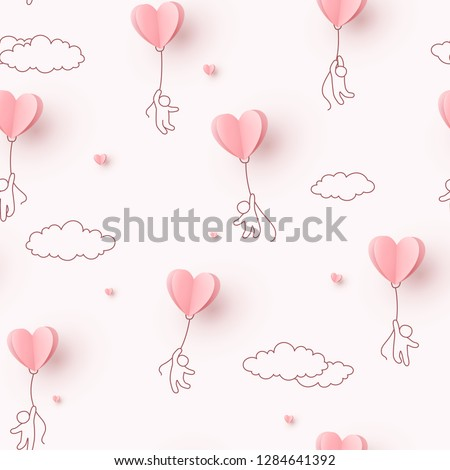 Valentines hearts balloons with people flying on pink sky background. Vector love seamless patern for Happy Mother's or Valentine's Day greeting card design.