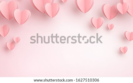 Valentines hearts flying on pink background. Vector paper symbols of love for Happy Women's, Mother's, Valentine's Day, birthday greeting card design.